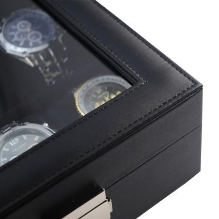 Urkasse / urboks til 12 ure - sort læder og sort interiør