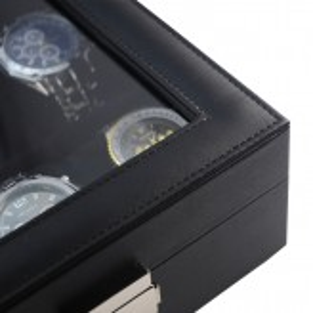 Urkasse / urboks til 12 ure - sort PU læder og sort interiør
