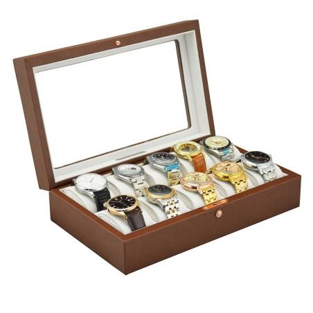 Urboks / urkasse med rude til 10 ure - topkvalitet brun læder