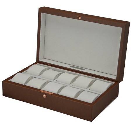 Urboks / urkasse til 10 ure - topkvalitet cognac brun læder
