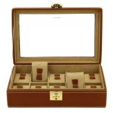 Friedrich urboks i ægte brun læder - opbevaring af 10 ure