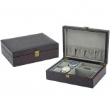 Urboks / smykkeskrin i brun læder - opbevar 4 ure + smykker