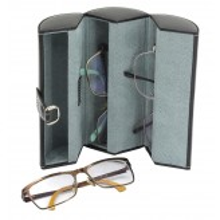 Brille etui i sort PU læder til 3 solbriller eller briller
