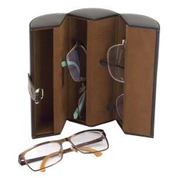 Brille etui i brun PU læder til 3 solbriller eller briller