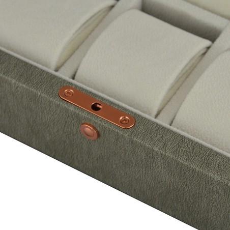 Urboks / urkasse med rude til 10 ure - topkvalitet mørk grå læder