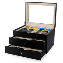 Boks til 18 solbriller eller butterfly - sort carbon fiber look