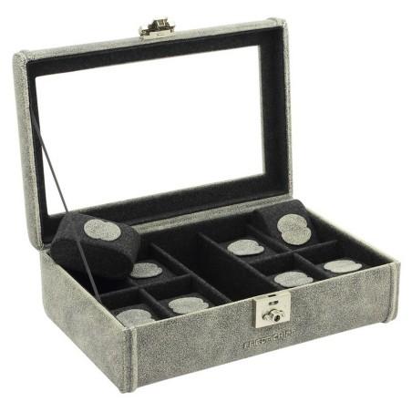 Urboks / urkasse i ægte rustik grå læder - opbevar 8 ure