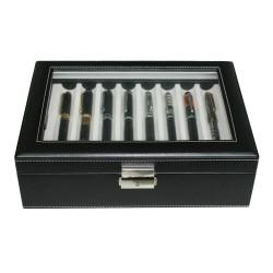 Penne boks i sort læder med glasrude - til 16 kuglepenne