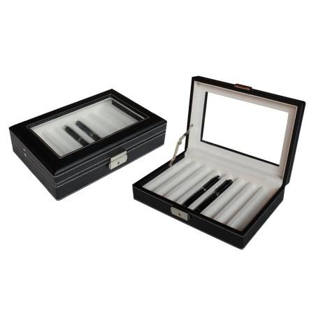 Penne boks i sort læder med glasrude - til 8 kuglepenne