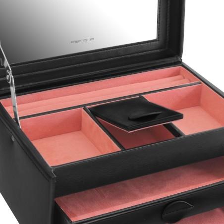 Friedrich smykkeskrin med spejl og 2 skuffer - sort læder