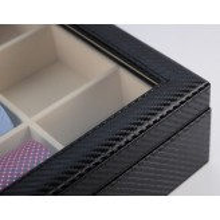 Slipse boks i sort carbon fiber look - opbevaring af 12 slips